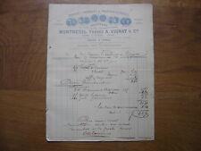 QUINZAINE factures de 1880 MONTREUIL VIGNAT PRODUITS CHIMIQUES PHARMACEUTIQUES