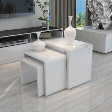 White High Gloss Nest of 3 Coffee Table Side End Table Modern Design Living Room