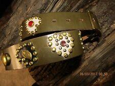 Ladies Handmade Olive Leather Belt, Leather Heart Inlays, Jewels, Studs 36