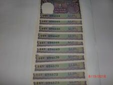 - INDIA PAPER MONEY - 10 X RE. 1/- OLD  NOTES - R.N.MALHOTRA - RARE - A-41 # AA8