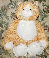 "17"" HUG-A-LONGS GANZ Orange White Striped Cat SOFT STUFFED ANIMAL PLUSH TOY Rare"