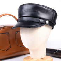 Women's Men's Genuine leather Leisure cap Military Newsboy Army Flat hats/caps