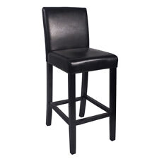 "NEW!  WOOD/LEATHER BARSTOOL - 29"" BAR/COUNTER STOOL - KENDALL-SET OF 4 - BLACK"