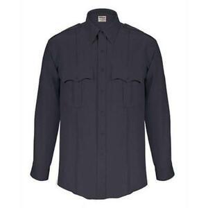 Elbeco TexTrop2 Long Sleeve Zippered Front Shirts, Men's, Dark Navy Z314N