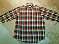 Viyella Long Sleeve Button Front Plaid Shirt Cotton Wool Blend L