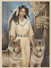 Cross Stitch Chart NATIVE AMERICAN GIRL with WOLVES - No.3-405 (Large Print)