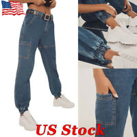 Hot Womens Denim Skinny Loose Casual Harem Pants Jeans High Waist Baggy Trousers