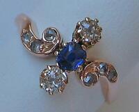Ring mit Safiren und Diamanten 0,20 ct. in aus 14 Kt. 585 Gold antik Damen Gr.49