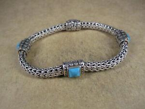 "John Hardy Sterling Silver & Turquoise 4 Station Wheat Bracelet, 7.5"", 33.3g"