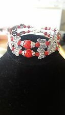 Tibet Tibetan Silver Ladies redLucky Beads with butterflies Bracelet Bangle