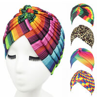Women Rainbow Color Leopard Muslim Hijab Turban Head Wrap Hat Beanie Cap Trendy