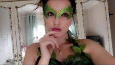 POISON IVY COSTUME EYE MASK FANCY DRESS GREEN GLITTER EYEBROW COSPLAY