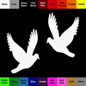 Dove Sticker 2 Pack Flying Silhouette Bird Decals Choose Color and Size