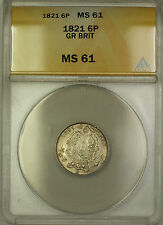 1821 Great Britain Silver Sixpence 6P Coin ANACS MS-61