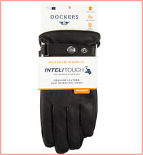 Dockers Mens LEATHER DRESS GLOVES - Heat Retention Lined - Touch Screen- L or XL