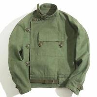 Men Women Swedish Motorcycle Jacket Army Green Work Jacket Cotton Casual Coat