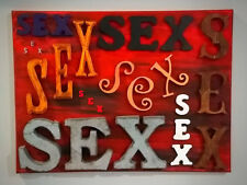 """SEX Letters Mixed Media Collage Art Painting 12"""" x 16"""""""