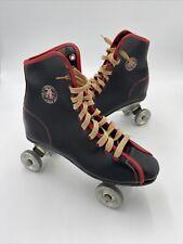 Vintage Official Roller Derby Skates Black Leather Metal Wheels Women Size 6