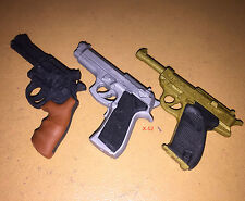 RUBBER ERASERS japanese 3 GUN pistol LOT toy (in scale for 12 inch figure)