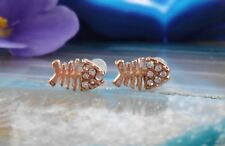 Ear Studs Earrings Fish Bone Fish Bone Gold Plated with Crystal White