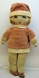 1920's Flapper Cloth Rag Doll Hand Painted Stockinette Face Pink Velvet Outfit