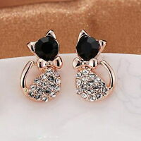 1 Pair Elegant Animal Cats Women Gold Crystal Rhinestone Love Ear Stud Earrings