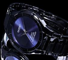 Akzent Herren Armband Uhr Schwarz Blau Flaches Design im Keramik Look 3