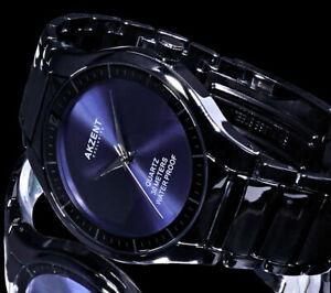 Akzent Herren Männer Armband Uhr Schwarz Blau Flaches Design im Keramik Look 3 B