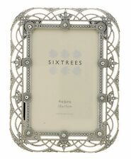 Sixtrees Alice Vintage Shabby Chic silver 6x4 inch photo frame  beads & crystals