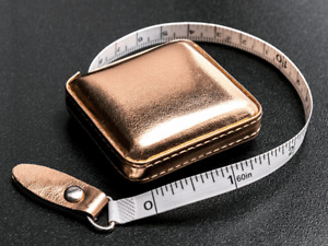 Rose Gold Retractable Tape Measure PU Fabric Case 150cm Birthday Gift