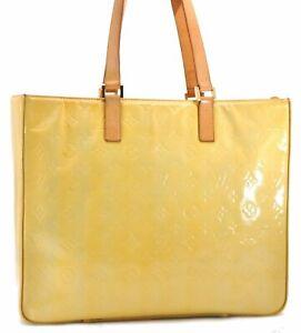 Authentic Louis Vuitton Vernis Columbus Shoulder Tote Bag Yellow M91047 LV D9813