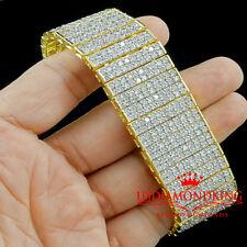 "MENS 14K YELLOW GOLD FINISH CLEAR LAB DIAMOND 10 ROWS TENNIS BRACELET 65g 7.75"""