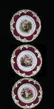 """Austria 3 Porcelain Portrait 8.5"""" Plates Hand Painted Signed BY ARTIST KAUFMANN"""