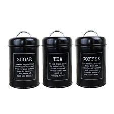 3pcs Tea Coffee Sugar Canisters Metal Kitchen Storage Tin Jars Pots Black