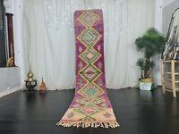 "Handmade Moroccan Boujad Runner Rug 2'2""x11' Geometric Purple Yellow Berber Rug"