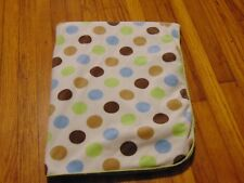 Carters Just One You Baby Blanket White Plush Green Sherpa Blue Brown Polka Dot