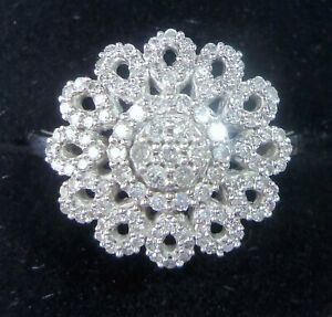 9ct White Gold 0.75ct Diamond Flower Cluster Ring, Size N1/2