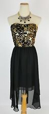 Hailey Logan $85 Black Gold Evening Prom Formal Cruise High Low Dress size 1