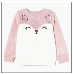 Girls Pink Soft Fleece Sweatshirt Fluffy Feel Novelty Deer Jumper 2-10 Yrs BNWT