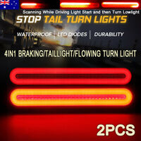 2X 100 LED Halo Neon Turn Signal Light Brake Trailer Truck Taillights Waterproof