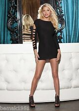 Sexy Black Long Sleeves Cut Out Mini Dress Chemise 2 Looks in 1 One Size 90279