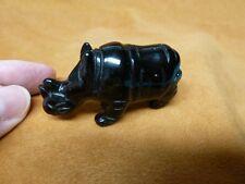 (Y-Rhi-700) Black Rhino rhinoceros gemstone Figurine gem carving I love rhinos