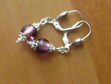 boucle d oreille perle MURANO violette clip ou crochet