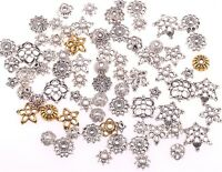 50g(about 150pcs) Mixed Silver/Golden Flower Bead Caps For Jewelry Making