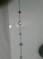 Multicolor Gemstone Bracelet Sterling Silver Lobster Claw Clasp