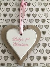Baby Girl First Christmas Heart Hanging Tree Decoration Pink