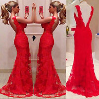 Women's Long Evening Ball Prom Gown Formal Bridesmaid Cocktail Party Lace Dress