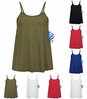 New Women's Ladies Cami Sleeveless Swing Vest Top Strappy Plain Flared