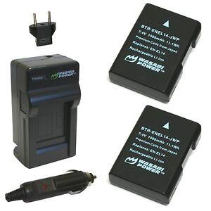 Wasabi Power Battery (2-Pack) and Charger for Nikon EN-EL14 EN-EL14a and Niko...