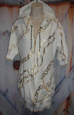 "White/Gold Woman's size S Small 555 Triple Five Soul BEAUTIFUL 30"" Long hoodie"
